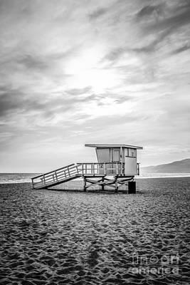Malibu Photograph - Malibu Lifeguard Tower #2 Black And White Photo by Paul Velgos