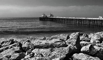 Photograph - Malibu Pier Black And White by Judy Vincent