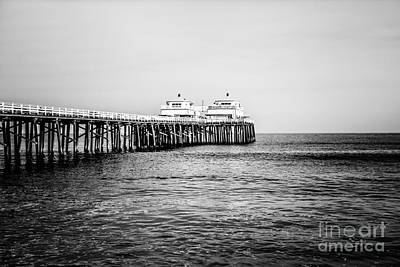 Malibu Photograph - Malibu Pier Black And White Picture In Malibu California by Paul Velgos