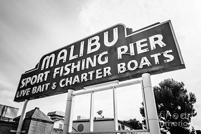 Malibu Pier Sign Black And White Photo Art Print