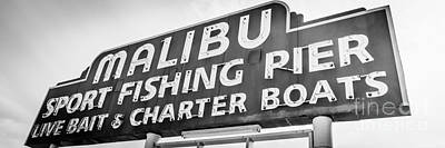 Sports Royalty-Free and Rights-Managed Images - Malibu Pier Sign Panoramic Black and White Photo by Paul Velgos