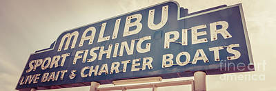 Sports Royalty-Free and Rights-Managed Images - Malibu Pier Sign Retro Panorama Photo by Paul Velgos