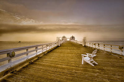 Photograph - Malibu Pier Sunrise Foggy Morning by Connie Cooper-Edwards