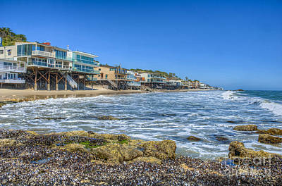 Photograph - Malibu Road Luxury Oceanfront, Beach Houses Raised Pilings 4 by David Zanzinger