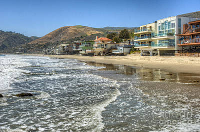 Photograph - Malibu Road Luxury Oceanfront, Beach Houses Raised Pilings by David Zanzinger