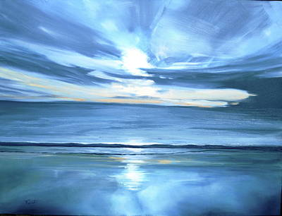 Malibu Sunset L Print by Valentine Estabrook