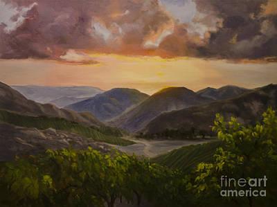 California Vineyard Painting - Malibu Vineyard Sunset by Karen Winters