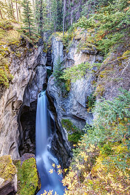 Photograph - Maligne Canyon Waterfall by Pierre Leclerc Photography