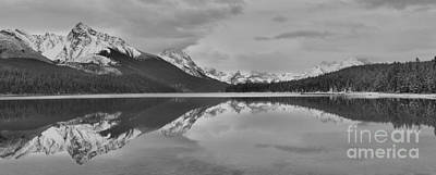 Photograph - Maligne Lake Black And White Storm Cloud Panorama by Adam Jewell