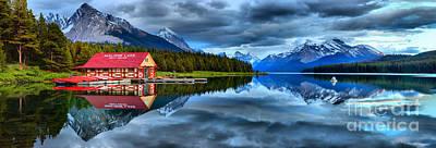 Photograph - Maligne Lake Blue Skies Sunset Panorama by Adam Jewell