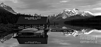 Photograph - Maligne Lake Boathouse Black And White by Adam Jewell