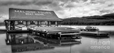 Landscape Photos Chad Dutson - Maligne Lake Boathouse bw by Jerry Fornarotto