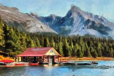 Digital Art - Maligne Lake Boathouse by Eva Lechner