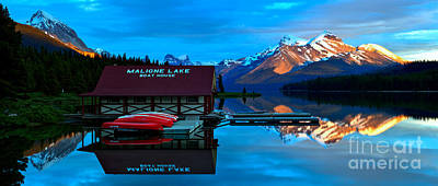 Photograph - Maligne Lake Boathouse Fiery Cliffs Sunset by Adam Jewell