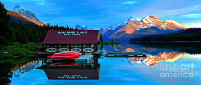 Photograph - Maligne Lake Boathouse Fiery Mountains by Adam Jewell