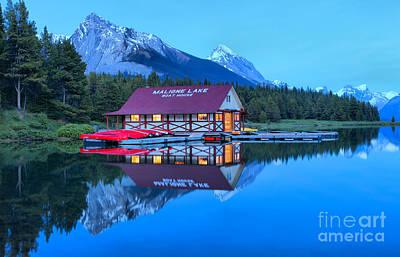 Photograph - Maligne Lake Boathouse Night Lights by Adam Jewell