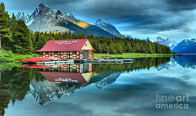 Photograph - Maligne Lake Boathouse Stormy Sunset by Adam Jewell