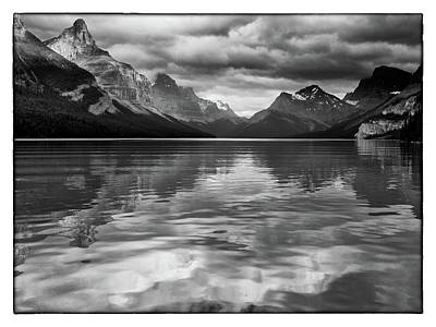Photograph - Maligne Lake Bw by David Beebe