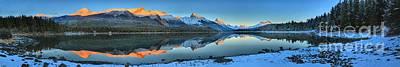 Photograph - Maligne Lake Giant Sunset Panorama by Adam Jewell