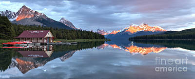 Photograph - Maligne Lake Jasper Sunset Panorama by Adam Jewell