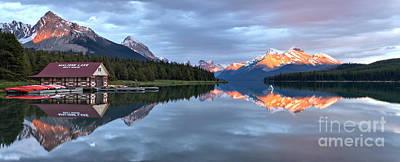 Photograph - Maligne Lake Jasper Sunset Panorama by Adam Jewell