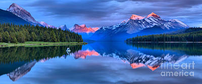 Photograph - Maligne Lake Mountain Sunset by Adam Jewell
