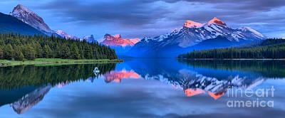 Photograph - Maligne Lake Mountain Sunset by Adam Jewell