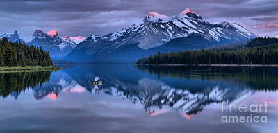 Photograph - Maligne Lake Purple And Pink by Adam Jewell