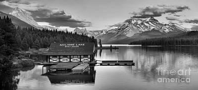 Photograph - Maligne Lake Sunset Glow Panorama Black And White by Adam Jewell