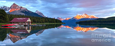 Photograph - Maligne Lake Sunset Mountain Glow by Adam Jewell