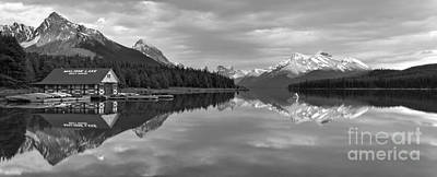 Photograph - Maligne Lake Sunset Mountain Glow Black And White by Adam Jewell