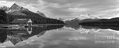 Photograph - Maligne Lake Sunset Mountain Glow Black And White by Adam Jewell