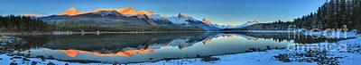 Photograph - Maligne Lake Sunset Panorama by Adam Jewell