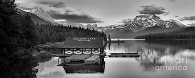 Photograph - Maligne Lake Sunset Panorama Black And White by Adam Jewell