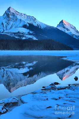 Photograph - Maligne Lake Sunset Portrait by Adam Jewell