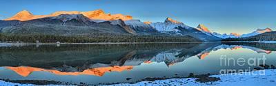 Photograph - Maligne Lake Sunset Reflections by Adam Jewell