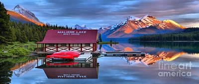 Photograph - Maligne Lake Sunset Spectacular by Adam Jewell