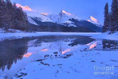 Photograph - Maligne Lake Winte Pink Peak Reflections by Adam Jewell