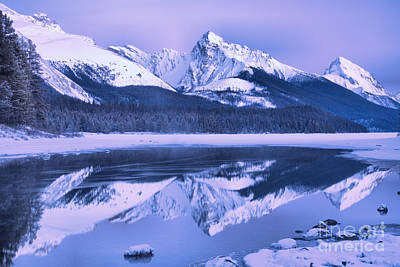 Photograph - Maligne Lake Winter Dusk by Adam Jewell