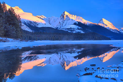 Photograph - Maligne Lake Winter Pink Peaks by Adam Jewell