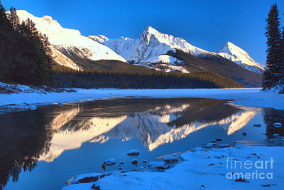 Photograph - Maligne Lake Winter Reflections by Adam Jewell