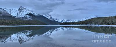 Photograph - Maligne Lake Winter Storm Clouds by Adam Jewell