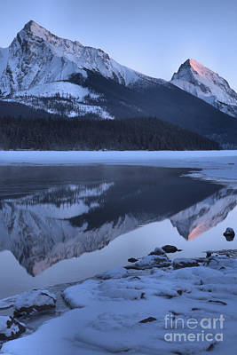 Photograph - Maligne Lake Winter Sunset Portrait by Adam Jewell