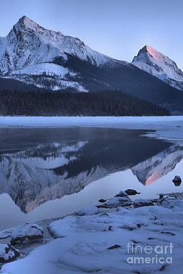 Photograph - Maligne Lake Winter Sunset Portrait by Adam Jewell