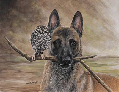 Belgian Malinois Painting - Malinois And Friend by Daniele Trottier