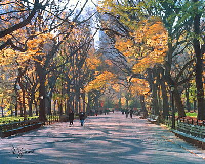 Park Scene Painting - Mall Central Park New York City by George Zucconi