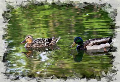 Drake Photograph - Mallard Couple On A Pond by Kae Cheatham