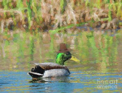 Photograph - Mallard Duck With A Warm Felt Hat - Painterly by Les Palenik