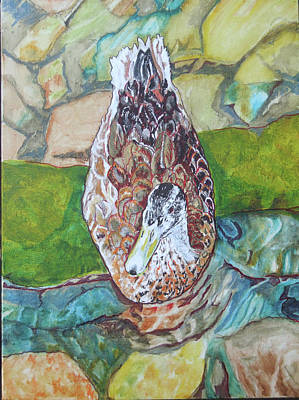 Painting - Mallard In The Creek by Jamie Downs