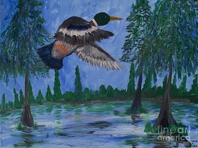 Modern Feathers Art - Mallard Over Swamp by Seaux-N-Seau Soileau